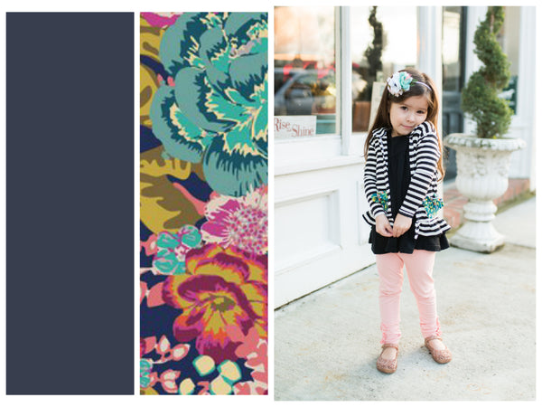 KIDS knit cardigan (mama and me match) in Midnight Navy and Floral!