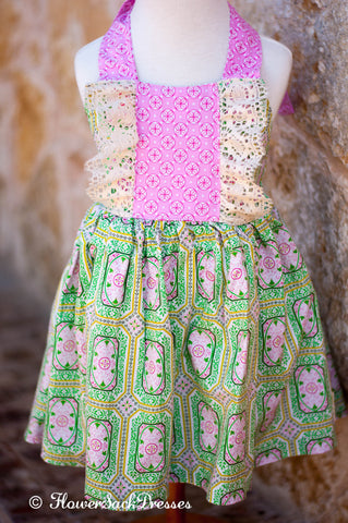 Green Pink Ivory Lace St Patricks Clover Dress Halter Style FlowerSack Dresses spring