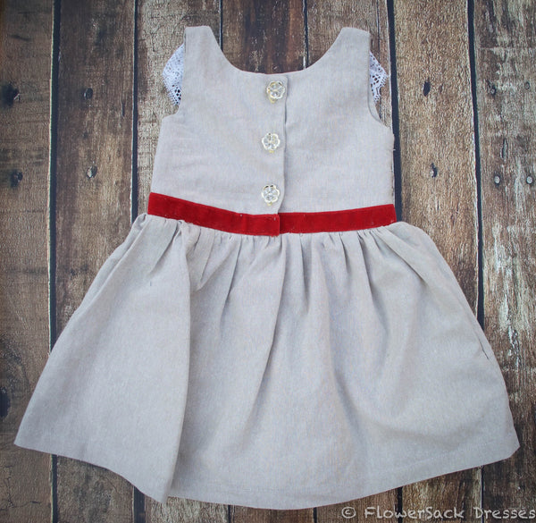 Red Velvet Christmas & Valentine Dress with Rosette, Linen, Lace, Red Velvet and Gold Buttons