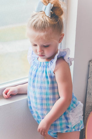 Plaid aqua swiss dot bow pockets handmade spring flowermill dress baby bubble