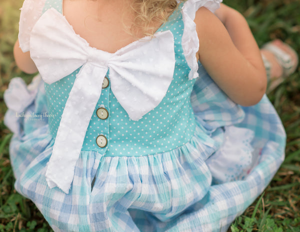 Plaid aqua swiss dot bow pockets handmade spring flowermill dress