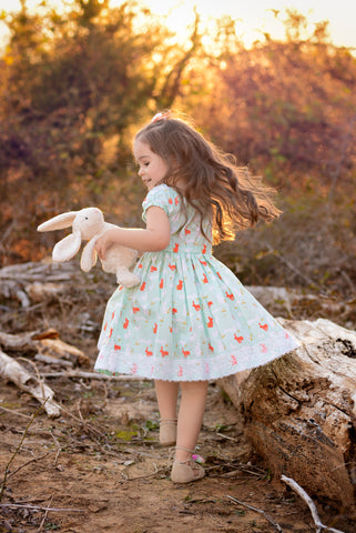 Bunny Rabbit Easter dress coral aqua cold lace spring dress flowersack dresses