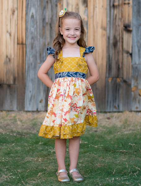 Fly Away With Me, Fall Mustard/Cream/Navy Dress