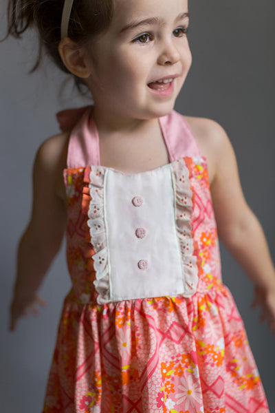 Vintage Daisy Pink Coral Orange Eyelet Ivory Lace Halter Style Spring Summer Dress FlowerSack Dresses Pink Buttons