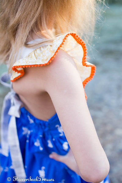 Swan Dress Blue Gingham Strap Yellow Floral Orange Eyelet Lace FlowerSack Dresses