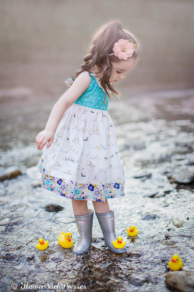 Duck Floral Eyelet Dress Lace Ivory Pink Gray Teal Spring Baby toddler kid Fashion by FlowerSack Dresses