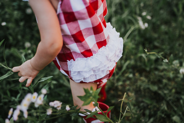 Baby bubble cherry gingham swiss dot eyelet lace summer handmade usa flowermill dresses