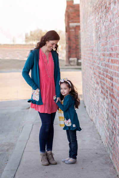 Kids moms matching knit cardigans made in america by flowermill dresses