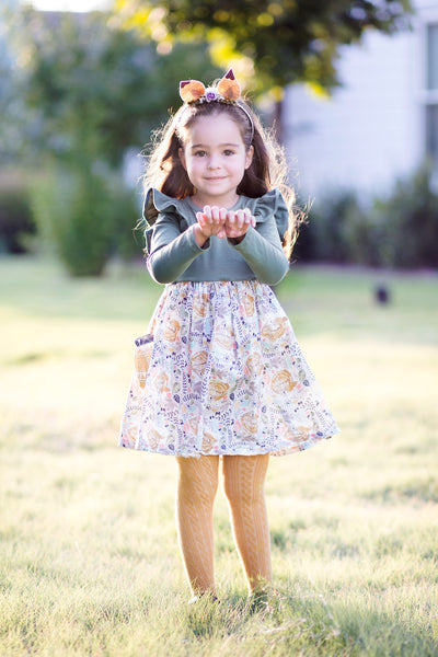 Deer Fawn Holiday Thanksgiving Fall Style Dress Mustard Sage Knit Handmade in Texas Dress by Flowermill Dresses