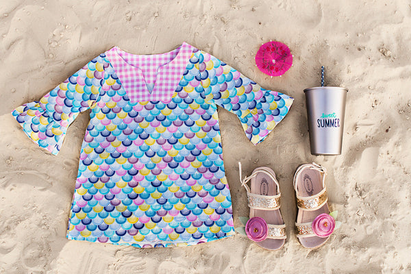 Mermaid Life, scallops swim beach pool summer tunic colorful beach style made in the USA
