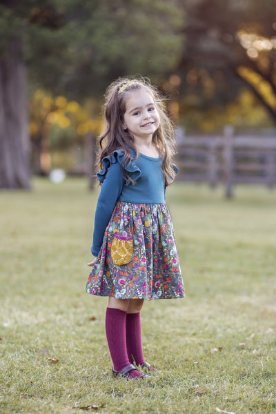Fall handmade in texas dress gray jade floral raspberry mustard flowermill dresses