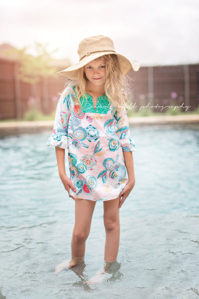 Floral Bloom beach pool swim summer tunic cover up by flowersack dresses, made in America, 100% cotton