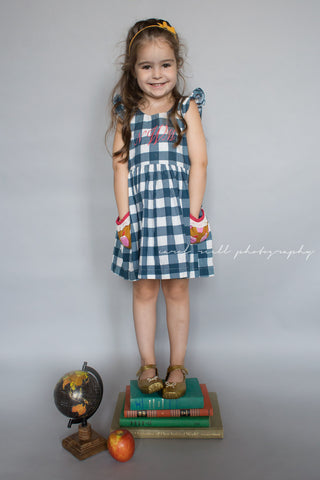 Apple gingham plaid navy dress back to school pockets bow lace scoop back fall dress