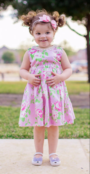 Valentine Heart Cut Out Dress Pink Floral Spring Tanya Whelan Fabric Modern