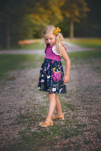 Fall floral plum navy made in texas USA flowermill dresses