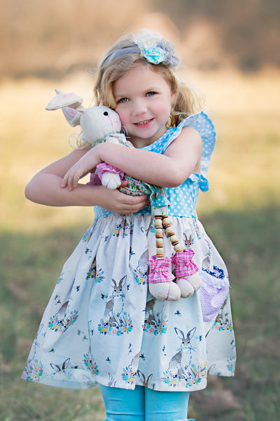 Bunny dress Easter spring handmade in texas usa flowermill dresses