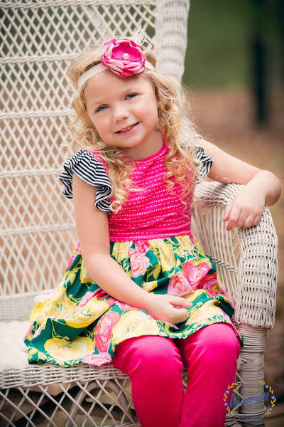Spring floral and stripe dress summer style handmade in texas flowermilldresses america