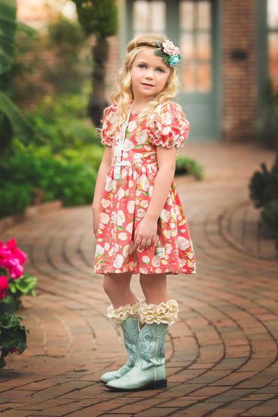 Spring floral all knit dress handmade in american dallas texas flowermill dresses poppy