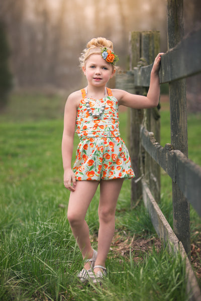 orange aqua romper handmade in texas flowermill dresses girls clothing