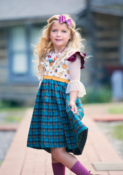 pumpkin fall thanksgiving handmade flannel in america dress flowermill dresses