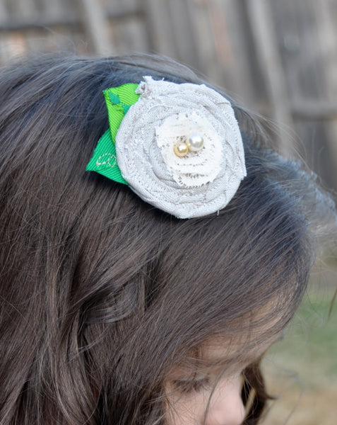 Linen and Lace Hair Rosette Clip