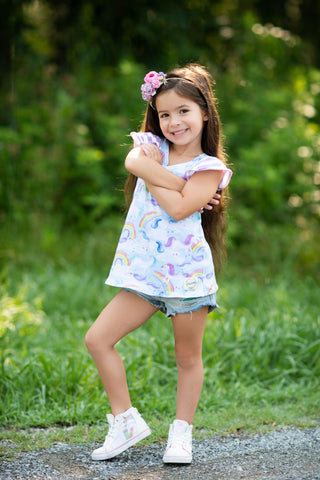 unicorns, rainbows, magical handmade texas usa flowermill dresses knit comfy cute girl sweet tunic