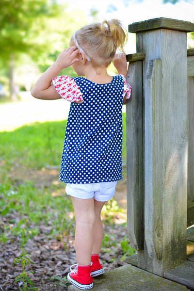 Red White blue patriotic top tunic handmade in america flowermill dresses lobsters and polka dots