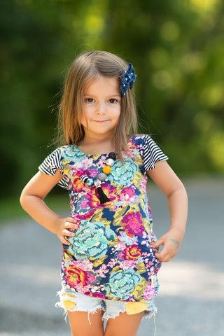 Floral stripe knit tunic back to school fashion comfy cute handmade texas flowermill dresses