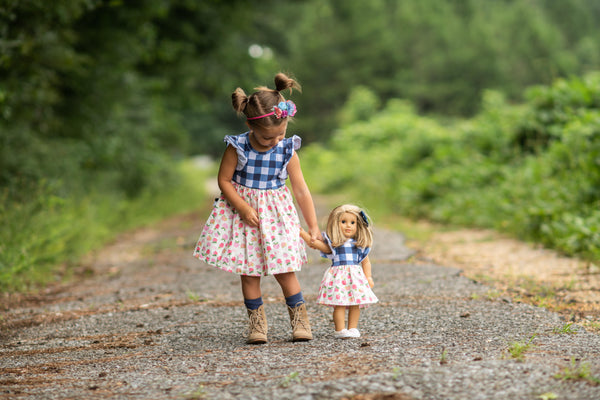 BAck to school navy gingham apples plaid pink lavender dress handmade in usa texas flowermill dresses