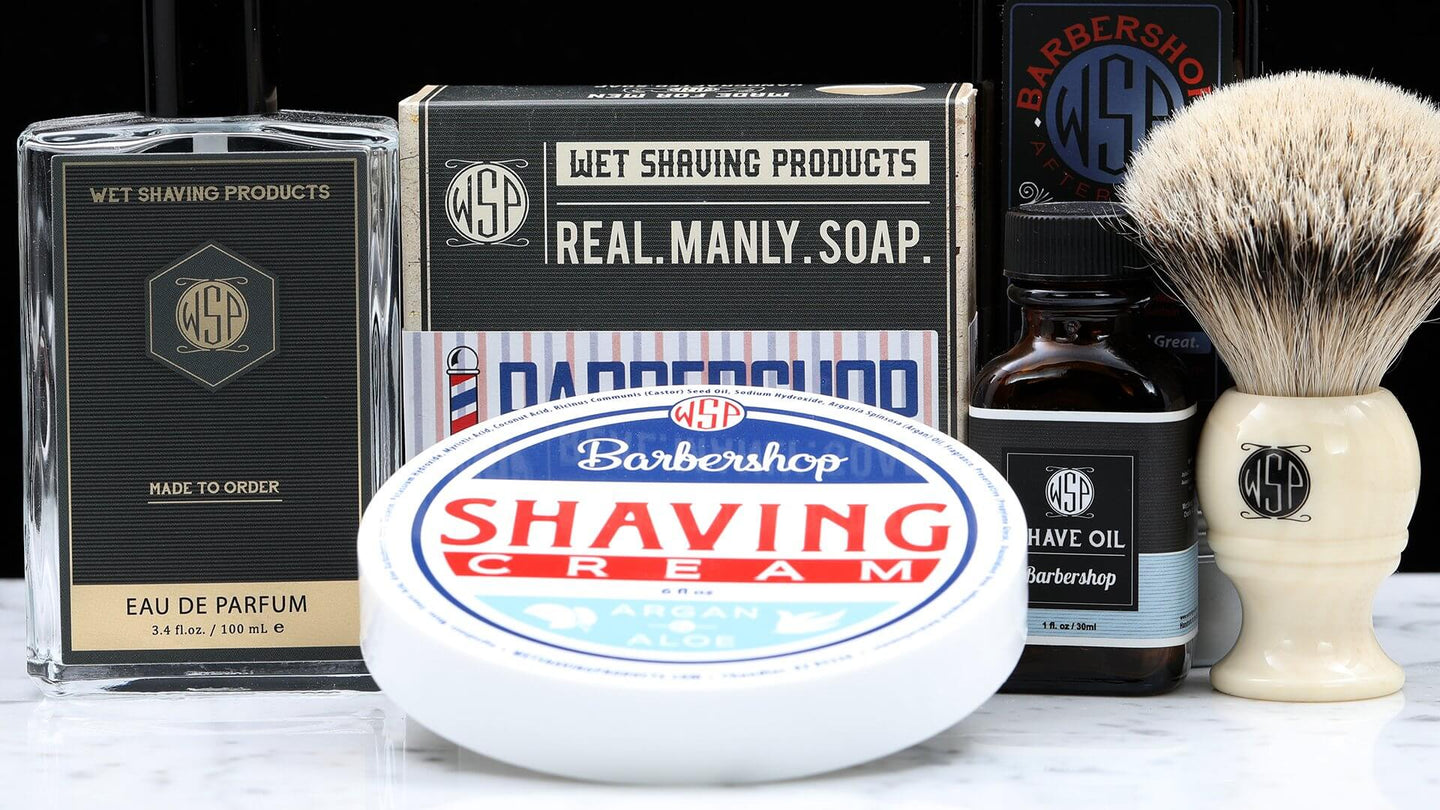 Image of soap products and shave oil