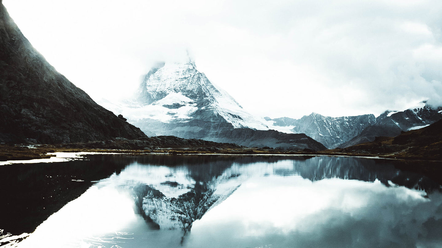 image of the matterhorn in clouds