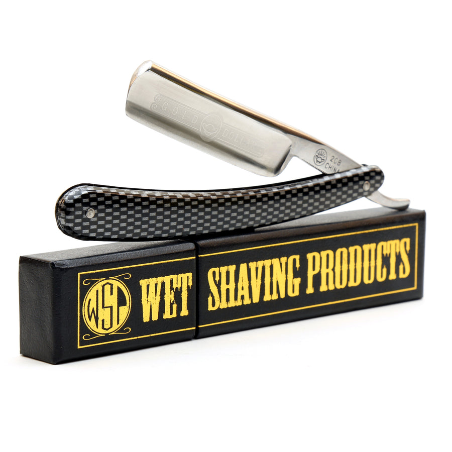 -Shave Ready- Starter Straight Razor & Box Gold Dollar 208 Carbon Steel