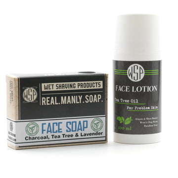 Tea Tree Face Soap & Lotion Combo Kit for Problem Skin