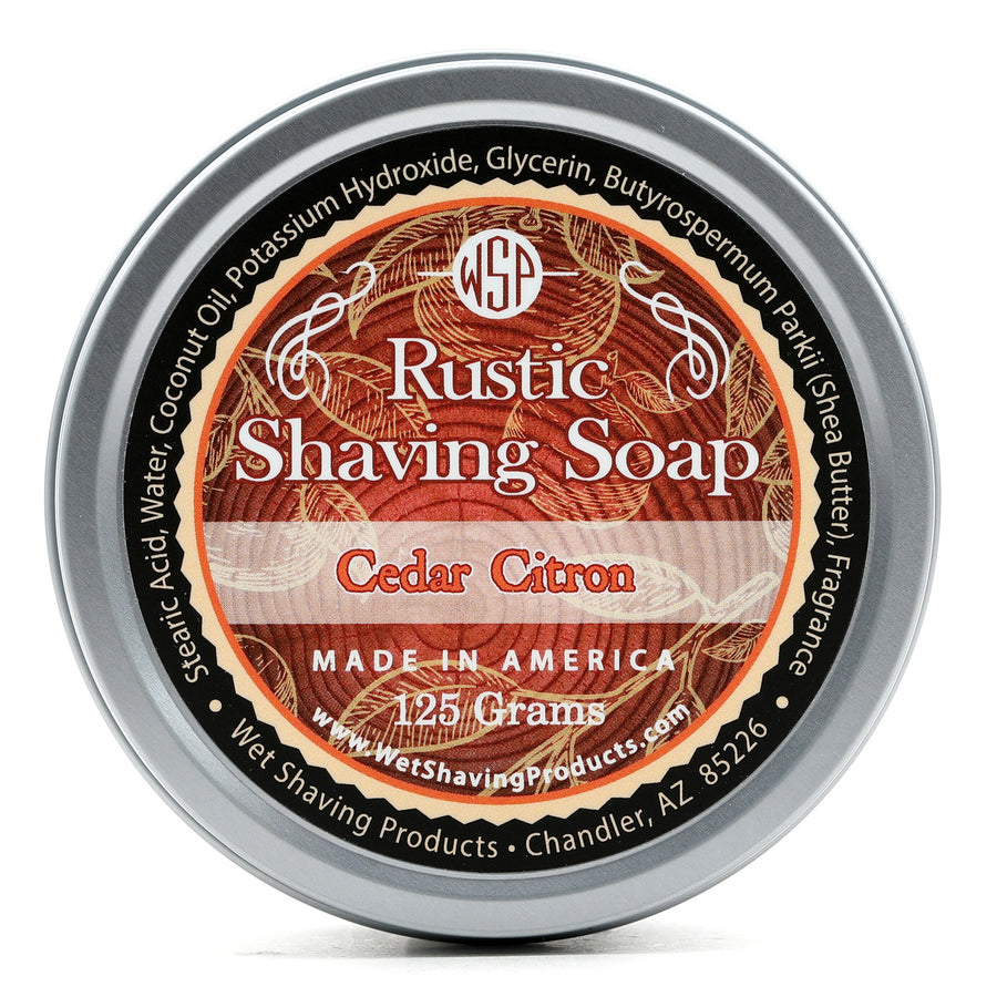 Rustic Shaving Soap Vegan & All Natural 4.4 oz; 125 g (Cedar Citron) 100% Natural