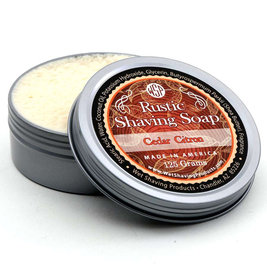 Rustic Shaving Soap Vegan & All Natural 4.4 oz; 125 g (Cedar Citron)