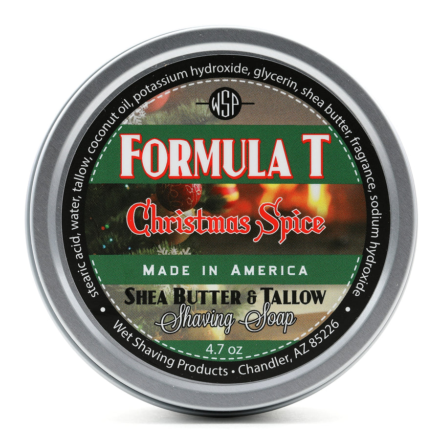 Limited Edition Christmas Spice Formula T Shaving Soap 4.7 oz Made with Shea Butter & Tallow