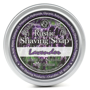 Rustic Shaving Soap Vegan & All Natural 4.4 oz; 125 g (True Lavender) 100% Natural