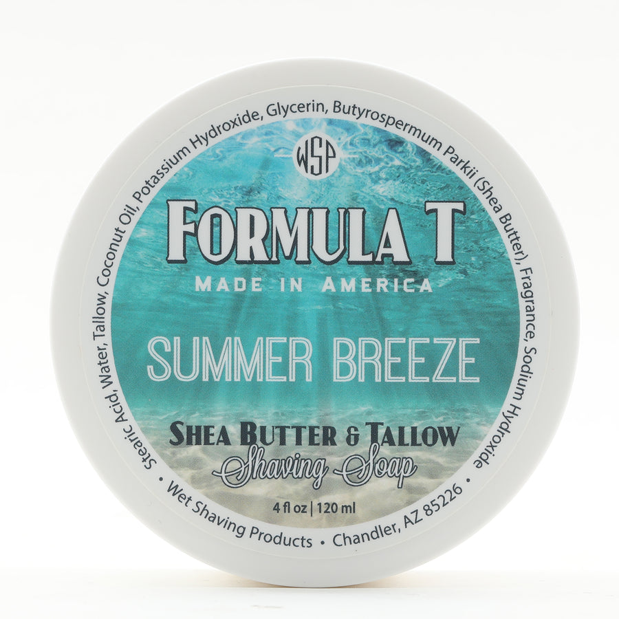 Limited Edition (Summer Breeze) Formula T Shaving Soap 4 fl oz Made with Shea Butter & Tallow 100% Natural