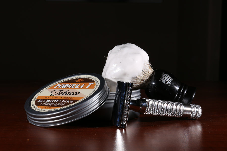 Formula T Shaving Soap 4.7 oz Made with Shea Butter & Tallow (Tobacco)