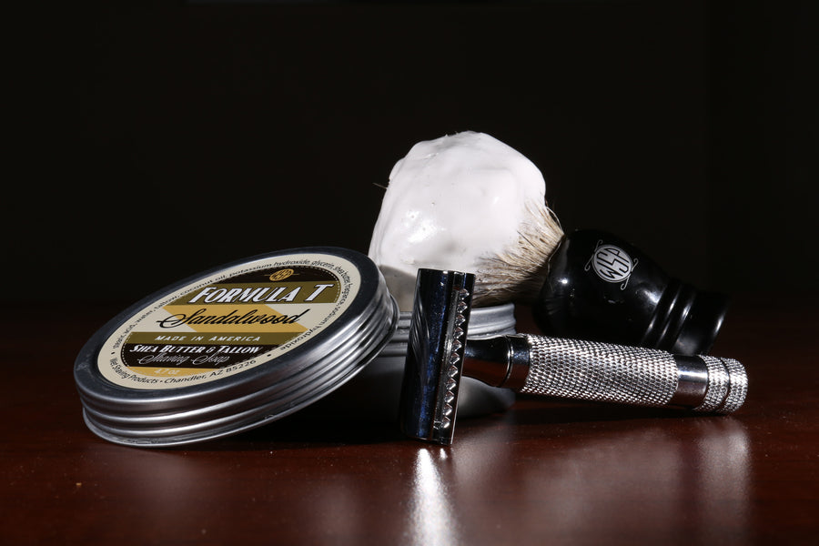 Formula T Shaving Soap 4.7 oz Made with Shea Butter & Tallow (Sandalwood)