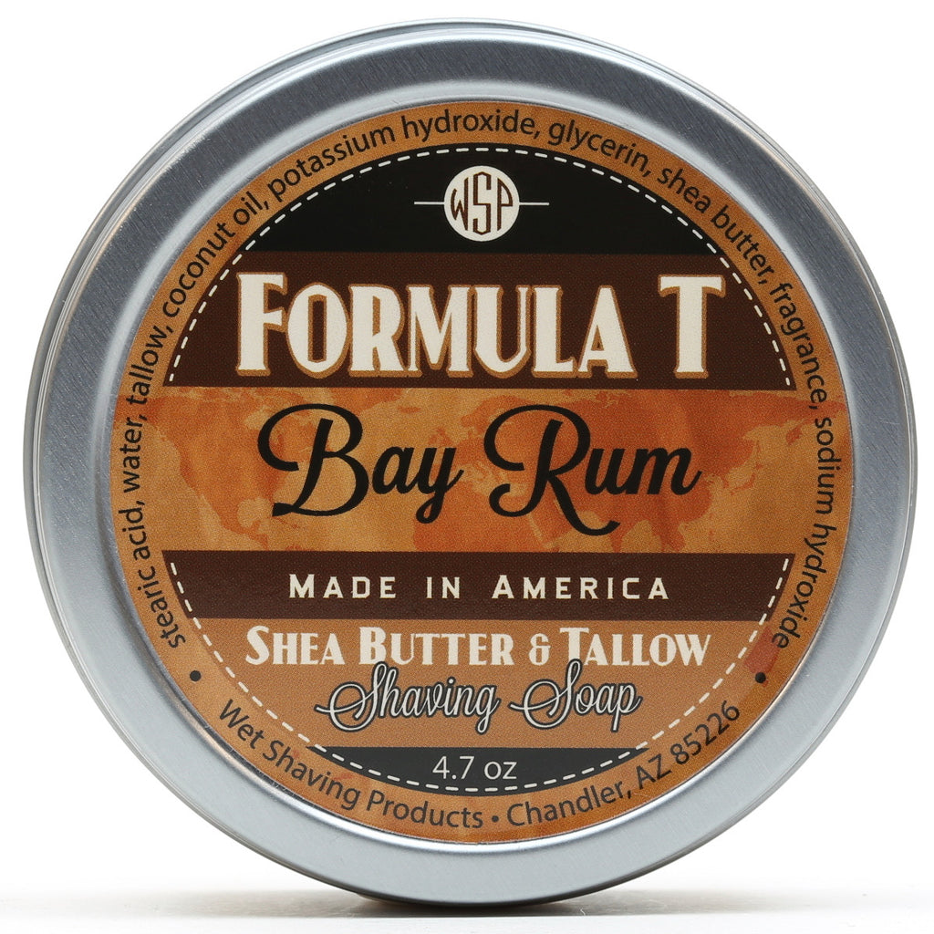 New for 2016! Bay Rum Formula T Shaving Soap 4.7 oz with Shea Butter & Tallow
