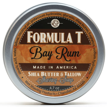 Formula T Shaving Soap 4.7 oz - Shea Butter & Tallow (Bay Rum) All Natural