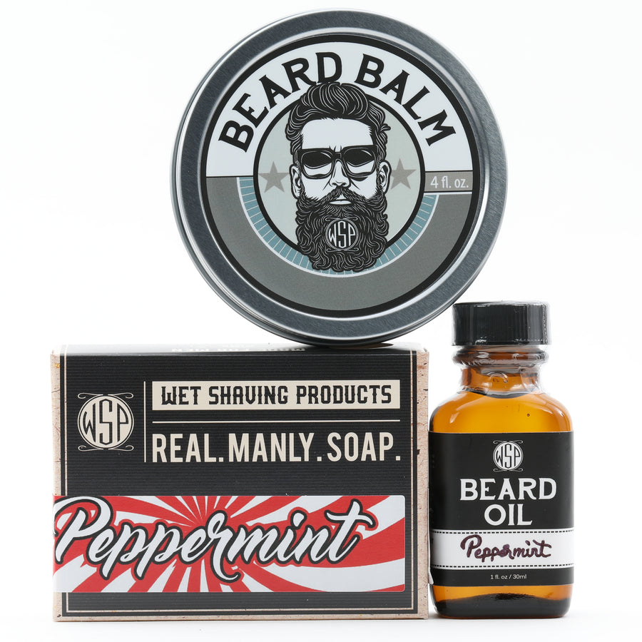 Limited Edition (Peppermint) - Beard Set (Balm, Oil, & Soap)
