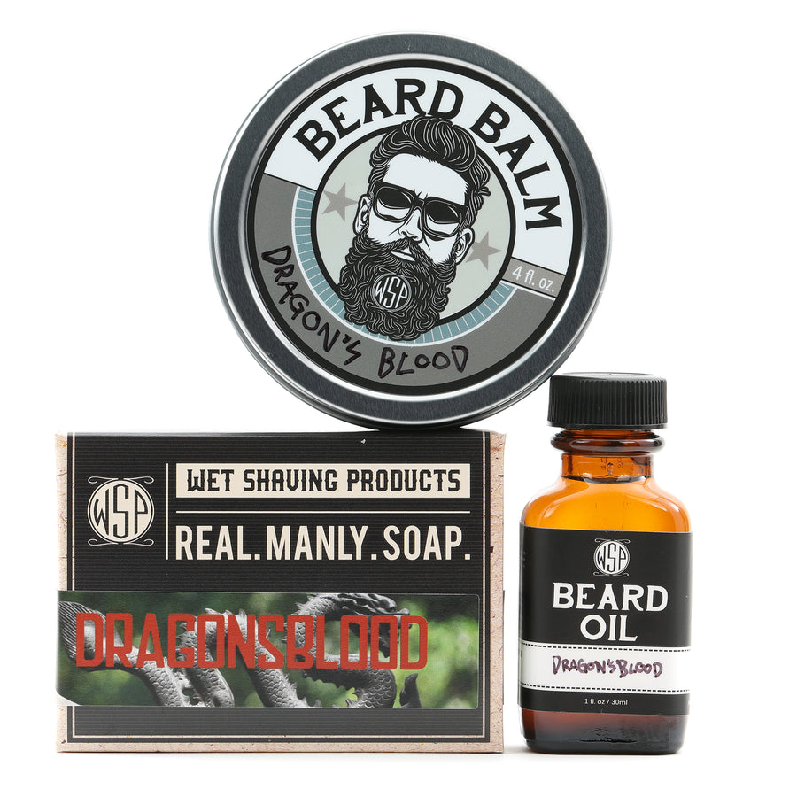 Limited Edition - Dragon's Blood - Beard Set (Balm, Oil, & Soap)