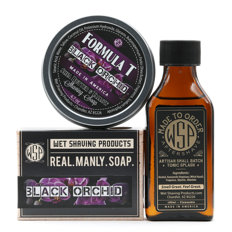 Limited Edition - Black Orchid - Formula T Shaving Soap 4 fl oz Made with Shea Butter & Tallow