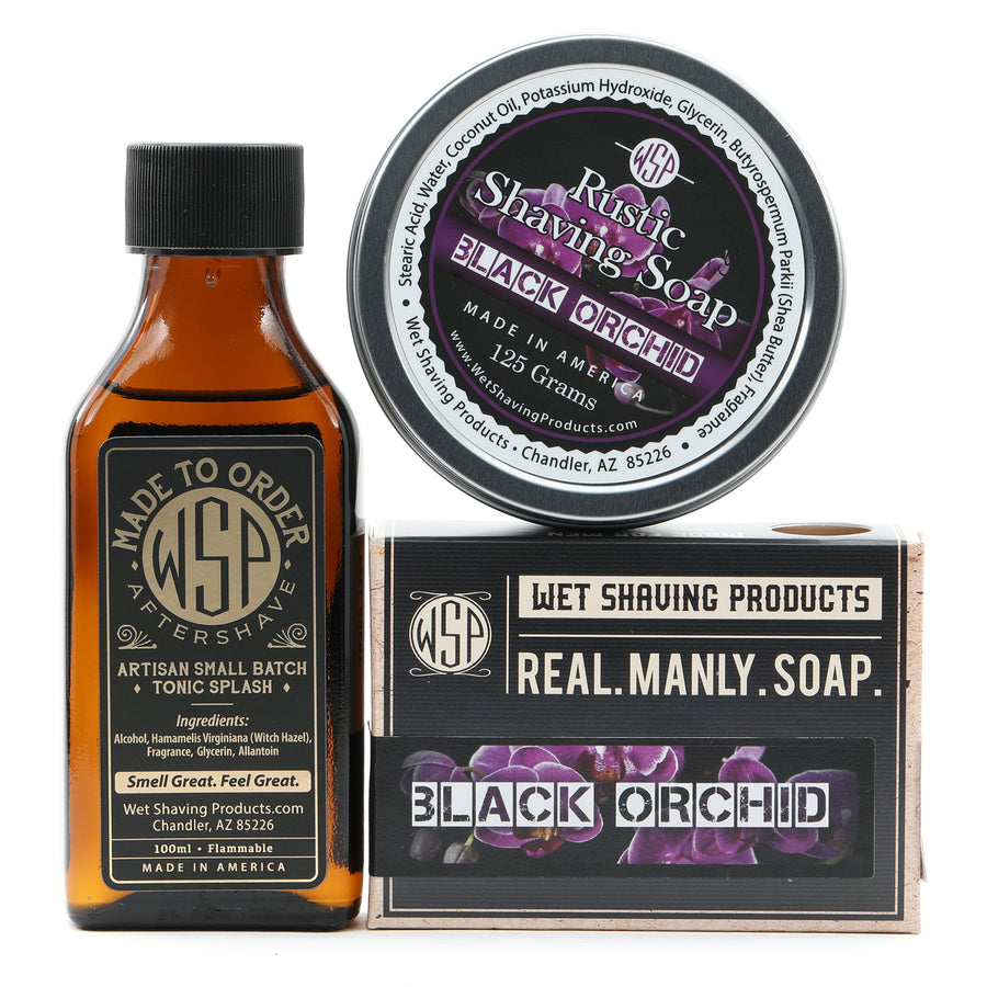 Limited Edition - Black Orchid - Rustic Fragrance Set (Bar Soap, Rustic Shave Soap, & Aftershave)