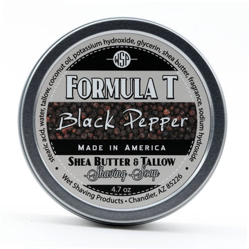Limited Edition (Black Pepper) Formula T Shaving Soap 4 fl oz Made with Shea Butter & Tallow 100% Natural