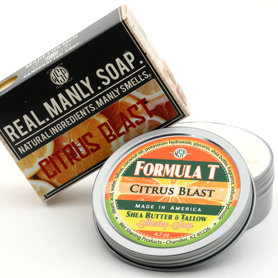 Limited Edition (Citrus Blast) Formula T Shaving Soap 4 fl oz Made with Shea Butter & Tallow 100% Natural