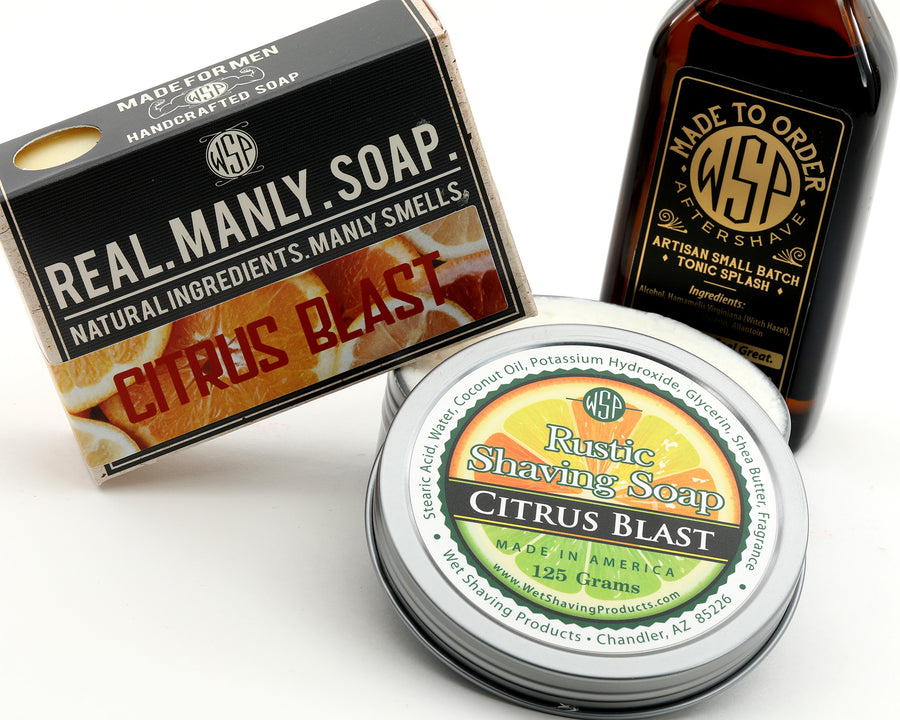 Limited Edition - Citrus Blast - Rustic Fragrance Set (Bar Soap, Rustic Shave Soap, & Aftershave)