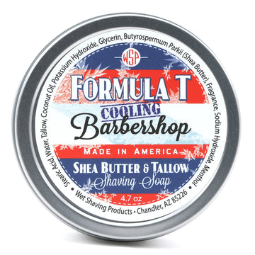 Limited Edition (Cooling Barbershop) Formula T Shaving Soap 4.7 oz Made with Shea Butter & Tallow